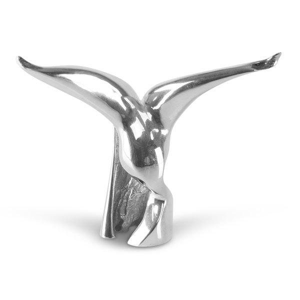 Miniature titled Catch of the Day in sterling silver. A bird with spread wings, head and beak.