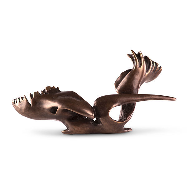 Miniature titled Swamp Seraph is made of bronze in a dark brown color. It shows a powerful bird seated with strong wings and a long beak.