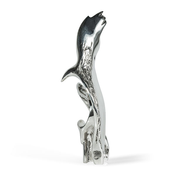 Miniature sculpture titled This Must be Love in sterling silver. A bird is about to catch a fish.